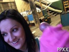 She likes using rubber gloves to stroke his hard cock.