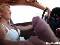 Girlfriend gives handjob while driving