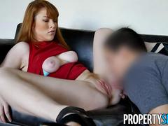 Redhead real estate agent fucks her client