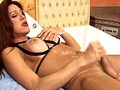 Small cock tranny shows off her massive bigtits in leather