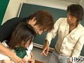 Japanese schoolgirl gets her clothes ripped off for classroom threesome