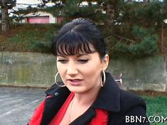 Stunning raven MILF fucked on the streets of Europe for cash