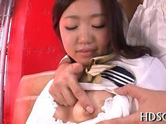 Cute Japanese schoolgirl fucked by her doctor after getting groped