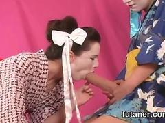 Geisha white girls playing with futanari cocks and strap ons