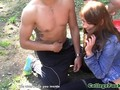 Real student assfucked in seethrough tent