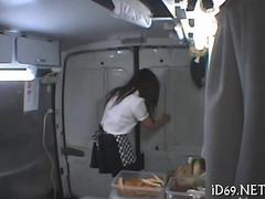 Japanese food truck teen gets fingered by her kinky boss