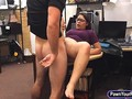 Nerdy lesbian babe gets fucked for pawn shop cash on table