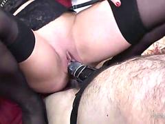 Mistress uses slaves as her ashtray and spanks his ass before strapon cum fuck