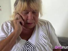 Granny Bertha Masturbates On Phone