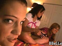 Brandi Belle and he friends let dude jerk off while playing games