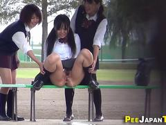 Watched asian teen peeing
