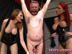 Badass brunette and redhead do some BDSM