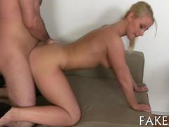 Blonde chick in high heels fucking a fake agent