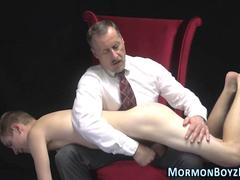 Mormon elder jerking nude twink and spanking ass