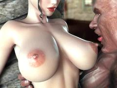 Lustful animated chicks giving blow