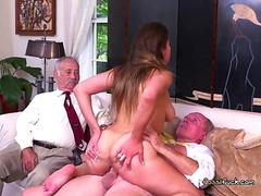 Curvy Teen Ivy Rose Rides Old Man For Cash