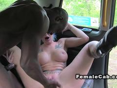 Inked cab driver anal fucked interracial in fake taxi