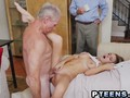 Sweetheart Teen Fucked By Old Guys On The Bed