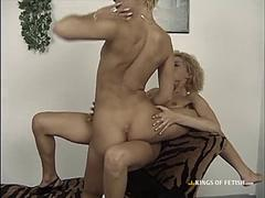 Hot Blonde Lesbians in heels eating pussy