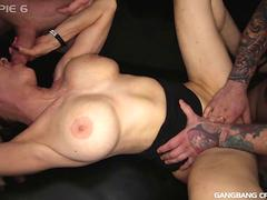 Nasty old  dirty Granny Gilf gets gangbanged with creampies