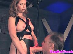 Busty femdom pees on submissive