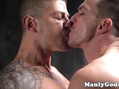 Inked muscular hunk riding cock ontop
