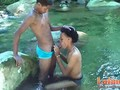 Heated Latinos having oral sex outdoors