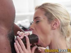 Teen fucks black grandpa