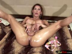 Latina t-babe loads a big sperm shot and plays with the cum