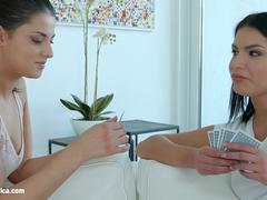 Cards well played lesbian scene with Annie Wolf and Coco De Mal by Sapphix
