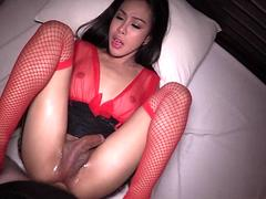 Ladyboy In Red Stockings Drill So Hard