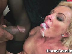 granny riding black cock