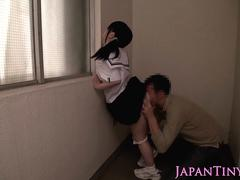 Petite japanese schoolgirl gets pussy toyed
