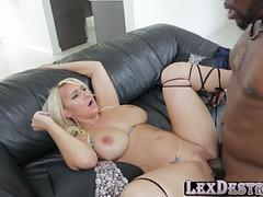 Fat ass and lustful Nina Kayy grabs a bbc and gets banged by Lex