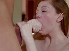 Petite redhead girl is here to blow a big meat pole