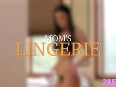 A smoking hot mom and her astonishing stepdaughter in a lovely lesbian affair on the bed