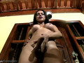 Alluring doll with balls masturbates long shecock and jizzes