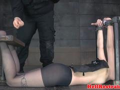 Pillory sub tiedup and toyed before caged