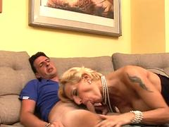 Mature tart is tempted to spread her legs for this fellow with a hulking willy and fuck in different poses