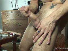 Young Latino Angelo Jerks Off With Dildo
