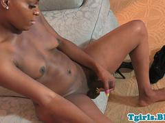 Ebony tgirl jerks off until she squirts cum