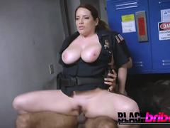 Cops with huge melons can't resist to ride a thick black penis with their juicy holes