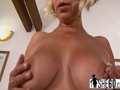 Blonde granny Sarah gets pussy stretched by big black cock on sofa