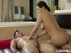 Passionate babe really knows how to swallow that stiff cock and get it between her sexy legs in different poses from this stud