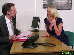 Cfnm office mistress tugs