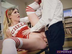 Hot cheerleader fucks with the nerd guy of the class