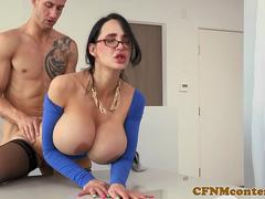 Busty office babe punishes sub with cocksuck