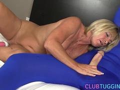 Mature busty whore gets to jerk and gobble that huge shaft of a dude in costume