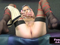 Stockinged trans toying her ass while jerking