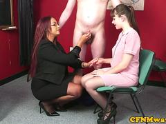 Busty cfnm teacher shows teen how to tug sub